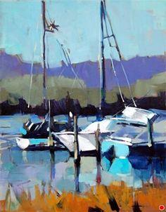 January Boats by Trisha Adams Oil ~ 24 x 18