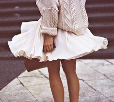 chunky sweater + circle skirt
