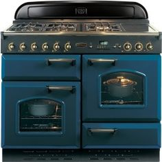 Rangemaster Classic Regal Blue with Brass Trim 110cm Dual Fuel Range Cooker