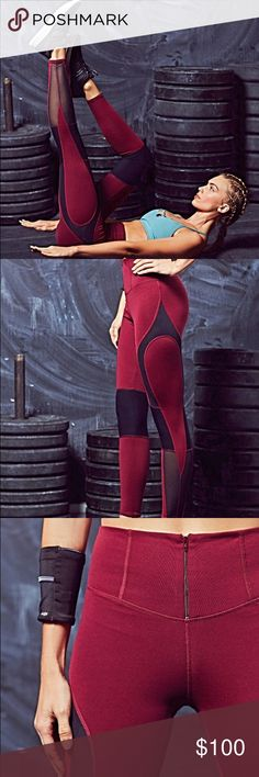 Free People Movement Cool Rider Legging🌿 Made with motion and ease in mind, these leggings are perfect for hitting the pavement or going hard at the gym. Featuring Picot Performance colorblock detailing and a front zipper closure on the waistband. Power mesh side panels. Soft and stretchy fit. Maroon Black Combo Color**  *88% Nylon *12% Spandex *Trim: 89% Nylon, 11% Spandex, *Machine Wash Cold *Import Free People Pants Leggings