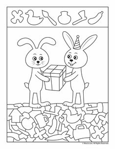 Happy Birthday Hidden Picture Activity Pages Birthday Tags, Bunny Birthday, Birthday Gifts, Happy Birthday, Kindergarten Activities, Preschool Activities, Activities For Kids, Crafts For Kids, Hidden Picture Puzzles