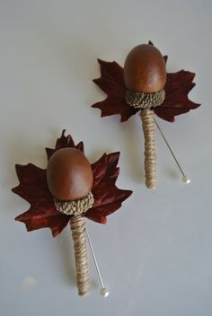 Artificial acorn autumn buttonholes by WildWedDesigns on Etsy
