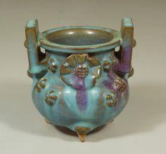 "Chinese Junyao glaze tripod porcelain censer, 4 7/8"" h"