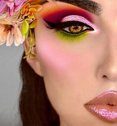 makeup inspiration pink and green tropical loud glitter eyeshadow beautiful MUA art halloween ideas Lip Gloss Colors, Lip Colors, Makeup Art, Eye Makeup, Makeup Shop, Mascara, Eyeliner, Brows, Long Hair Tips