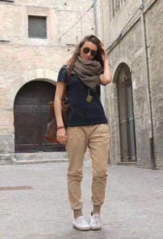 Man Basic T-shirt and Beige  , Ray Ban in Occhiali / Occhiali da sole, Trussardi in Borse, Superga in Sneakers