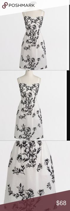🆕 J. CREW EMBROIDERED DRESS (Sz 8) J. CREW EMBROIDERED DRESS . its Ivory black embroidered dress. It falls above knee . It has back zip. Lined ( lining material is 100% cotton). It has adjustable straps . It has beautiful lace at the border of the dress. The upper material  is 100 % cotton. Embroidered is 100% Viscose.BRAND NEW WITH TAG. J. Crew Dresses