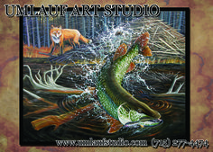 """""""The Tale of the Fox, the Tiger, and the Flaptail Mouse"""" Musky painting by Rodd Umlauf"""