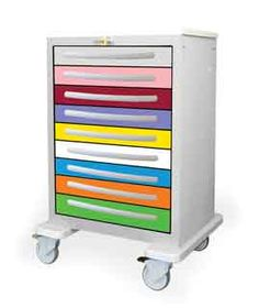 Pediatric Emergency Cart from PilgrimMedical.com with color coded drawers that identify supplies by patient size. See it now at PilgrimMedical.com