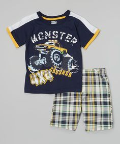 Look at this Navy 'Monster Crusher 4 x Tee & Plaid Shorts - Boys by Little Rebels Comfy Shorts, Plaid Shorts, Men's Shorts, Toddler Outfits, Kids Outfits, Tunic Leggings, Summer Boy, Kids Boys, Teen Boys
