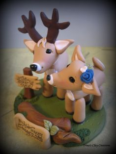 Wedding Cake Topper, Custom Cake Topper, Buck and Doe, Cake Topper, Deer, Personalized, Polymer Clay, Keepsake