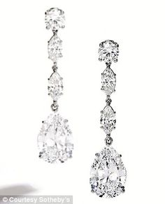 Platinum and diamond internally flawless pear-shaped earrings estimated at $1.5 million from the Lauder collection