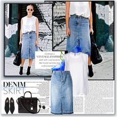 Vintage Denim Skirt by stellaasteria on Polyvore featuring STELLA McCARTNEY, Muveil, Yves Saint Laurent, vintage and denimskirt