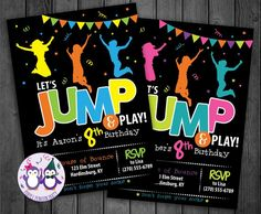 What a cute birthday invitation for a birthday party at a bounce place! 8th Birthday, Birthday Parties, Birthday Party Invitations, Your Design, Things That Bounce, Rsvp, Boy Or Girl, Messages