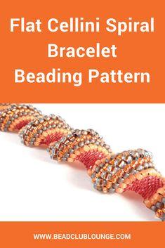 Flat Cellini Spiral - Peyote Bracelet Patterns - Seed Bead Bracelet Patterns - Beading Tutorials and Patterns - Beadweaving Tutorial Seed Bead Bracelets Tutorials, Beading Tutorials, Beaded Bracelets, Beading Tools, Peyote Beading, Necklaces, Beading Patterns Free, Bead Patterns, Jewelry Making