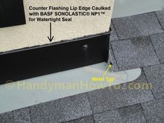 The new porch roof installation details are illustrated with the stucco apron/headwall flashing and counter flashing. A section of rotted soffit and fascia board are also replaced. Fascia Board, Roof Flashing, Stucco Walls, Porch Roof, Roof Installation, Rooftop, Counter, Electric Fireplace, Garage Ideas