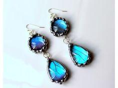 Blue Butterfly Glass Teardrop Domed Earrings