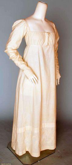 EMBROIDERED WHITE DAY DRESS, 1800-1815 - Regency, time-travel, Jane Austen
