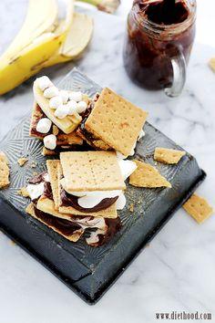 Chocolate Peanut Butter Banana S'mores | Chocolate Peanut Butter Banana S'mores | www.diethood.com | S'mores just got WAY BETTER! | #recipe #smores #dessert