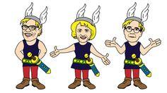 Puolueet satuhahmoina, Asterix, Illustration @ Stina Tuominen