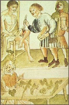 Medieval Medicine - The Middle Ages are often seen as a period of limited medical knowledge and yet many ideas from the classical medicine survived into the medieval period. This man's leg wound is being treated, while herbs for a soothing ointment or healing drink are being prepared. http://simon-rose.com/books/the-heretics-tomb/medieval-medicine/
