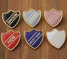 Enamel Wedding School Badges - wedding favours