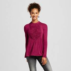 Women's Mockneck Lace-Piece Long Sleeve Knit - Xhilaration™ (Juniors') : Target