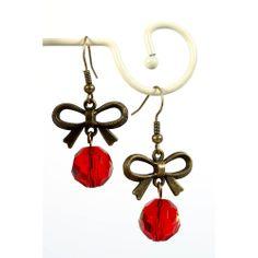 Rode oorbellen met strik in oud goud - http://www.onlinejuwelenkopen.be/Rode-oorbellen-online-kopen-met-strik-in-oud-goud