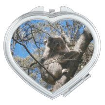 Koala_Bear_Tree_Climb_Ladies_Heart_Compact_Mirror Mirror For Makeup