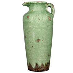 Green Antique Ceramic Jug Vase- 14-in