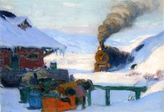 The Athenaeum - The Train, Baie-Saint-Paul (Clarence Gagnon - ) Canadian Painters, Spanish Painters, Canadian Artists, Winter Painting, Winter Art, Quebec, Clarence Gagnon, Grandma Moses, Paintings I Love