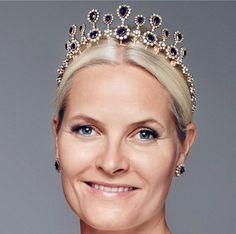 Crown Princess Mette Merit of Norway, wearing her mother-in-law's silver wedding present, the Amethyst tiara necklace combination