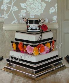 camper van wedding cake front view