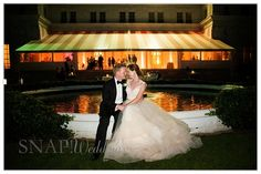 Rosecliff Wedding, Fountain, Evening, Bride and Groom,  ©Snap! Weddings