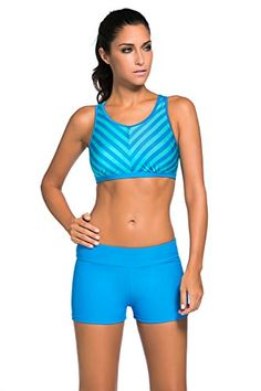 LOSRLY Women's Beach Active Double up Supported Workout Bathing Suits Boyshort Bikini Set Blue L 12 14 - http://shopping-craze.com/2016/10/09/losrly-womens-beach-active-double-up-supported-workout-bathing-suits-boyshort-bikini-set-blue-l-12-14/