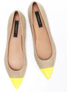 Elizabeth Pointy Flats - love the bright yellow toe caps!