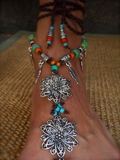 BOHEMIAN BAREFOOT WEDDING barefoot sandals Anklets by GPyoga