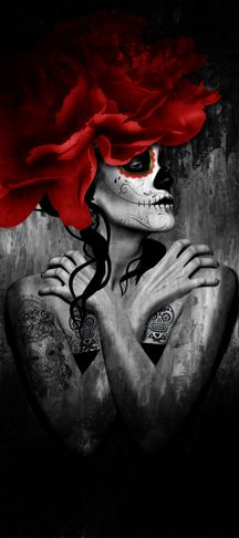 Flor Catrina right - day of the dead art by Digoil, on canvas. digoilrenowned.com