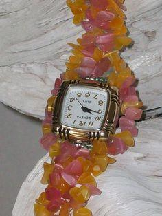 Beaded Cats Eye Bracelet Watch Magnetic Silver by CrystalCuffs