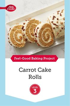 This easier take on a Swiss Roll lets you brush up on your baking skills all afternoon! It's the perfect project to keep you occupied, and your sweet tooth satisfied. Desserts To Make, Holiday Desserts, No Bake Desserts, Delicious Desserts, Food To Make, Dessert Recipes, Carrot Cookies, Carrot Cake, Cake Roll Recipes