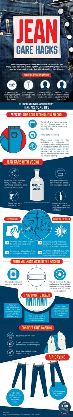 How To Clean Your Jeans Without Washing Them - Infographic