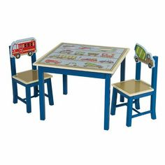 Guidecraft Moving All Around Table and Chairs Set Set includes 1 table and 2 chairs. Wooden double-bolt table legs and angled chair legs. Hand-painted chugging trains and automobiles on blue palette. Recommended for ages 3 and up. Table dimensions: 28W x 28D x 21H in..  #GuideCraft #Toy