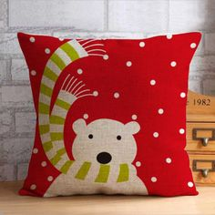 Cartoon outdoor christmas decorative pillows penguin square cushions
