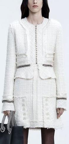 Deconstructed Tweed Jacket, White/Cream