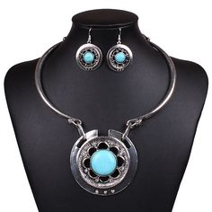 Fashion Turquoise and Silver Oxide Necklace Earrings Jewelry Set