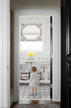 great tile, roman shade, black door