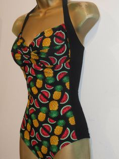bd51e5a799 LADIES BLACK GA PINEAPPLE MELON FRUIT HALTERNECK SWIMSUIT SIZE 12 SWIMWEAR # fashion #clothing #shoes #accessories #womensclothing #swimwear (ebay link)