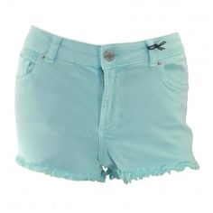 Warehouse pale green denim cut off shorts frayed hem