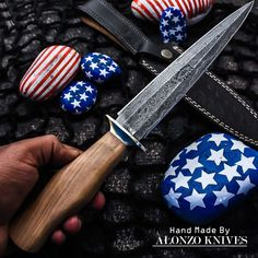 ALONZO KNIVES USA CUSTOM HANDMADE DAMASCUS COMBAT DAGGER KNIFE ROSE WOOD1297 #AlonzoKnives