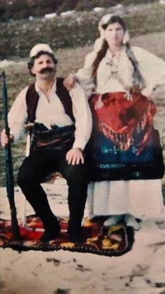 Kosovo Albanian national hero, Adem Jashari with his wife, wearing traditional northern Albanian folk wear. Adem Jashari was one of the founders of the Kosovo Liberation Army. He and his family were known for their bravery against the Yoguslavian occupator in Kosovo.