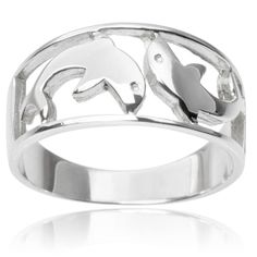Journee Collection Sterling Silver Dolphin Ring (6, Silver), Women's, White